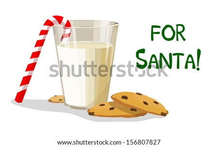 a glass of milk and cookies for
