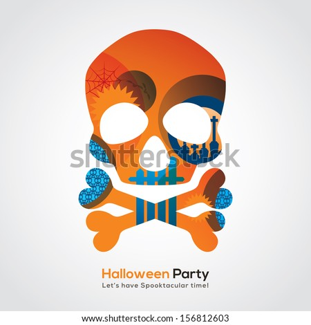 halloween party skull isolated
