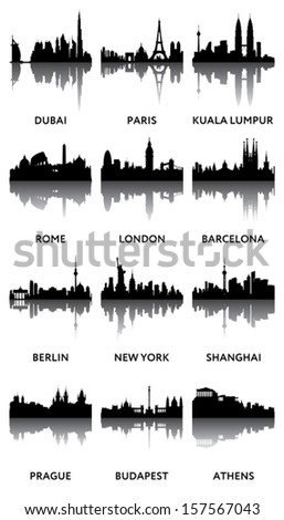 silhouettes of city panoramas