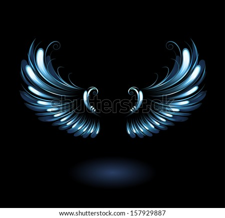 glowing  stylized angel wings