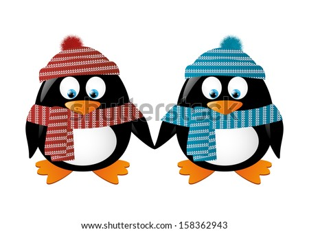two penguins wearing winter