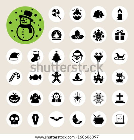 christmas   halloween icon set
