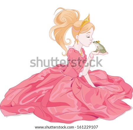 fairytale princess kissing a