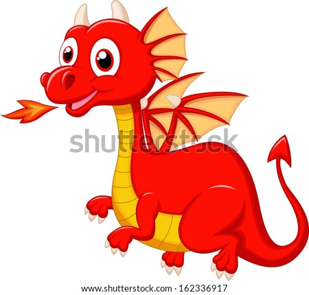 red dragon cartoon flying