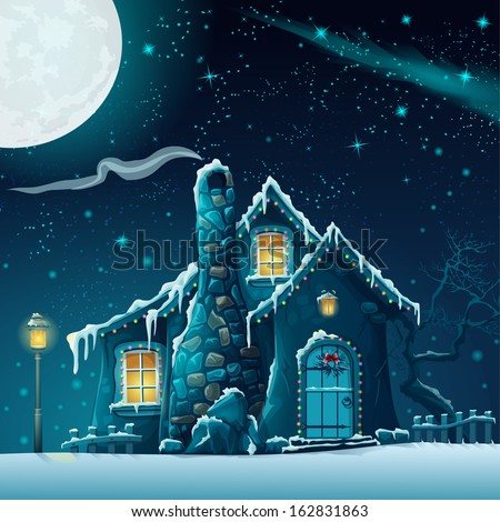 illustration of a winter night