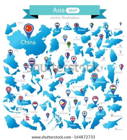 map of asia country flag