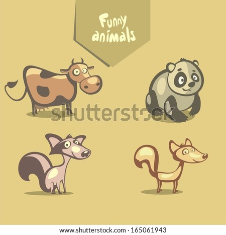 funny vector animals  cow