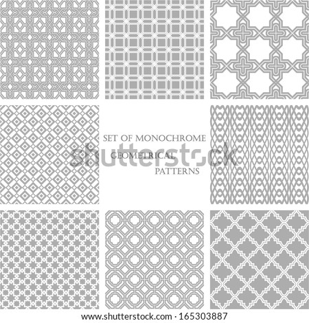 set of 8 monochrome geometrical