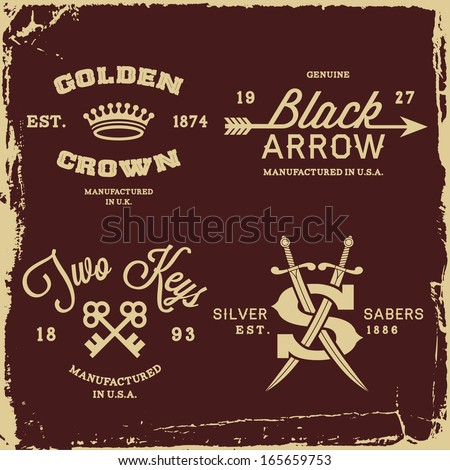 vintage labels with crown