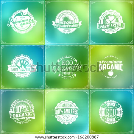 set of eco green labels of