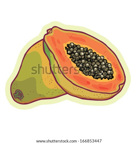 hand drawn papaya cartoon