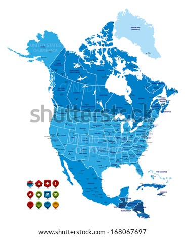 north america map  high