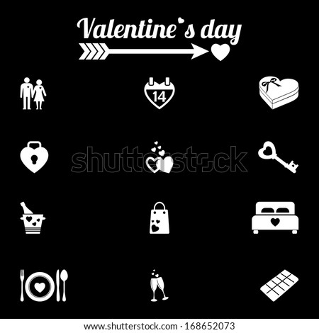 valentine day love icons set
