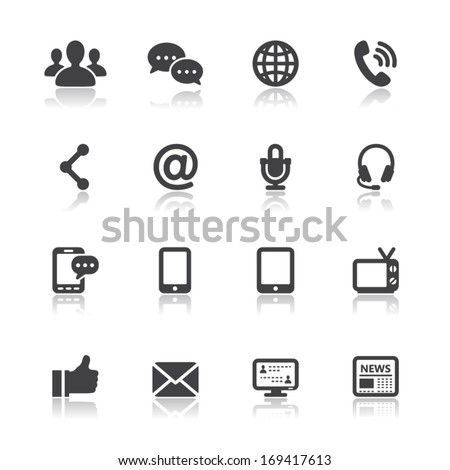 communication icons with white