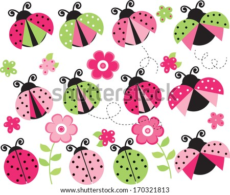 pink and green ladybugs