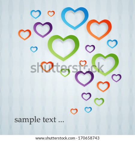 abstract colored hearts signs