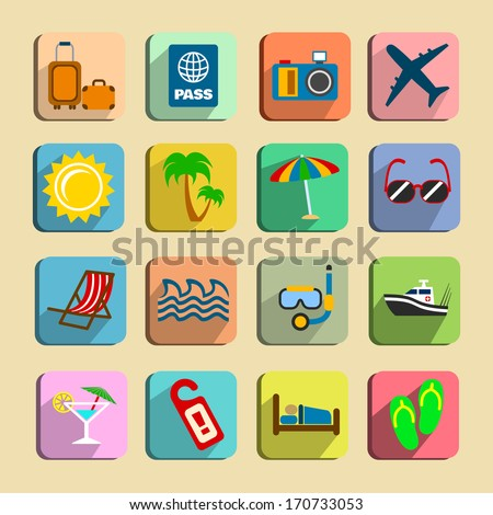 global tourism icons set of