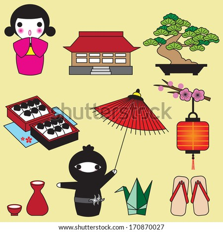 japanese icon illustration set