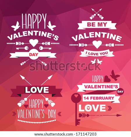 valentine's day set of symbols
