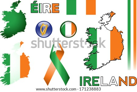 ireland icons set of vector