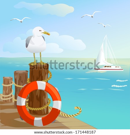 sea  gull  pier  and lifebuoy