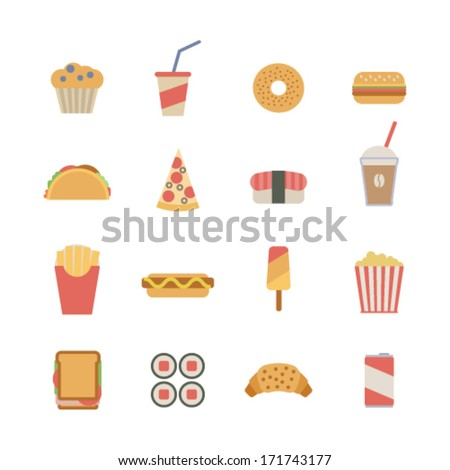set of flat fast food icons