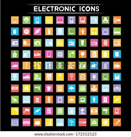 electronic icons set  flat