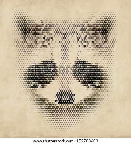 vintage geometric raccoon design