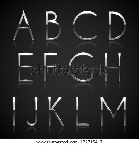 metallic silver alphabet