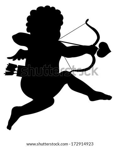 aiming cupid vector silhouette