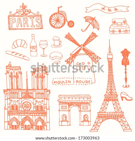 set of paris symbols made in