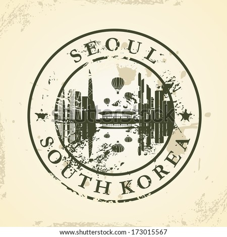 grunge rubber stamp with seoul