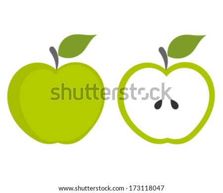 green apple   whole and cut