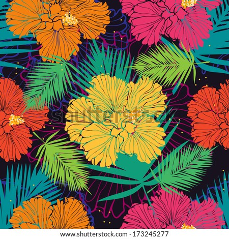 tropical floral background with