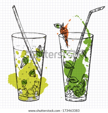 set of two cocktails drawn on