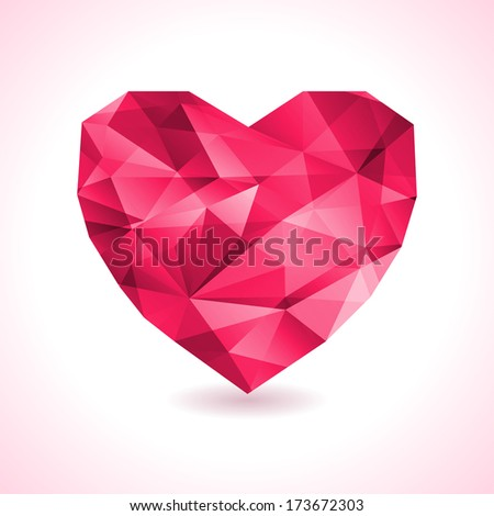 pink origami heart on white