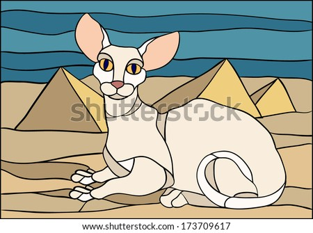 sphynx cat vector   stained