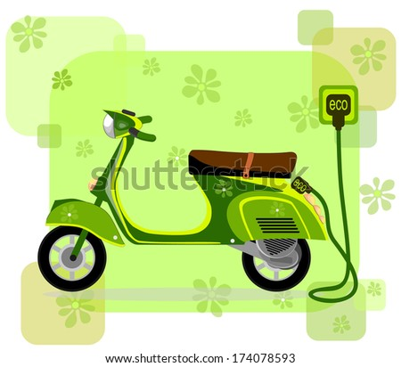 electric moped  charging via