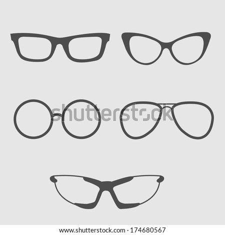 glasses set isolated icons