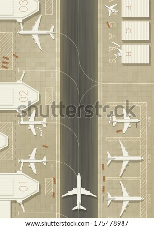 top view of an airport with 3