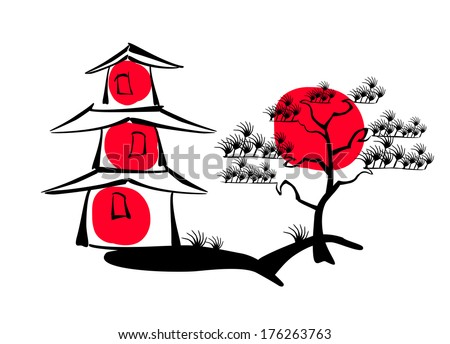 japanese pagoda and pine on a