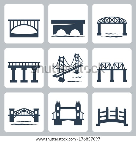 vector isolated bridges icons