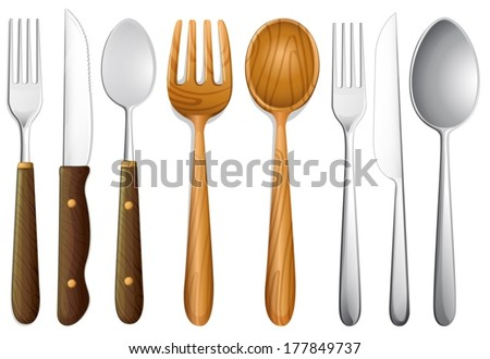 illustration of cutlery set on