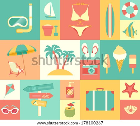 beach icons set vector