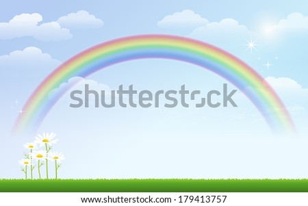 daisy and rainbow against blue