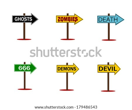 scary halloween signs with