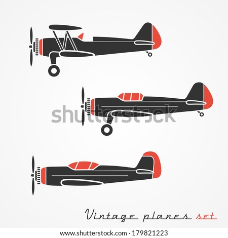 set of three retro planes