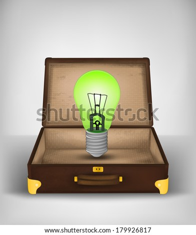 green bulb in open suitcase as