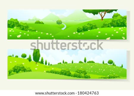 two green horizontal banners
