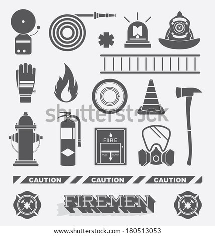 vector set  firefighter flat